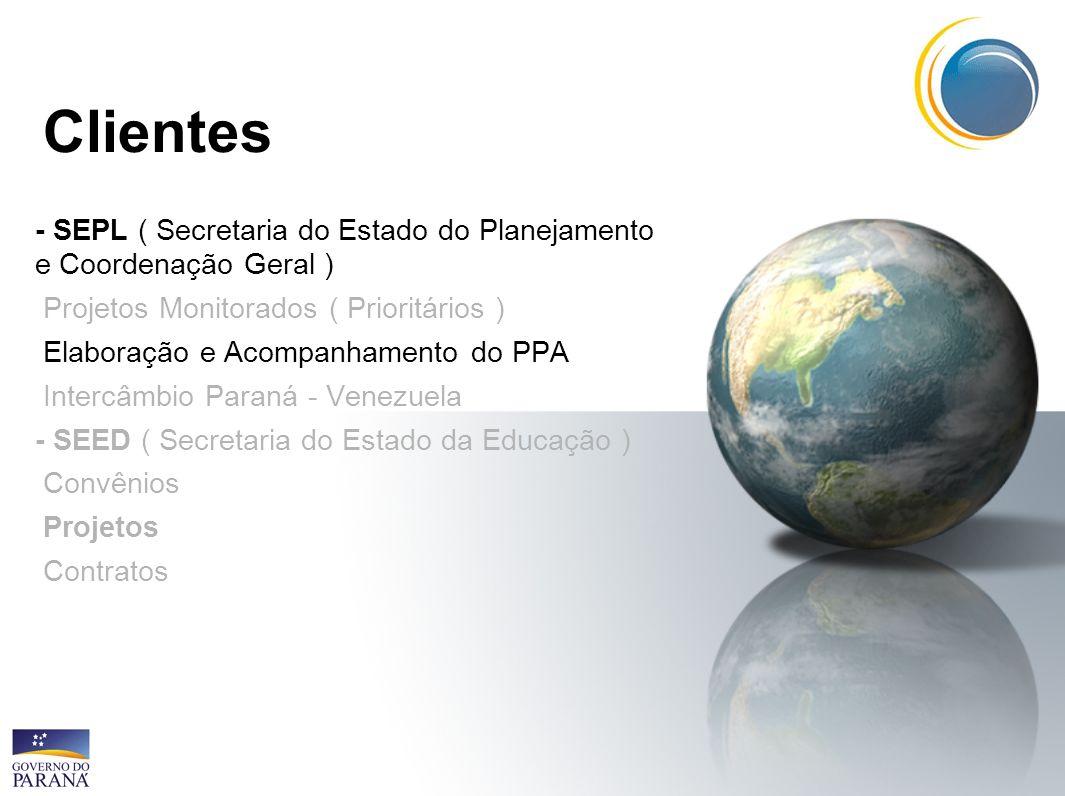 Clientes - SEPL ( Secretaria do Estado do Planejamento e Coordenação Geral ) Projetos Monitorados ( Prioritários )