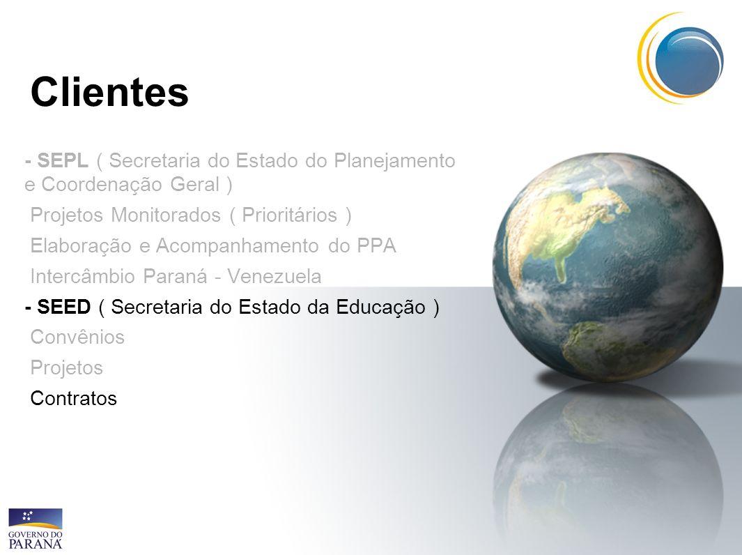 Clientes- SEPL ( Secretaria do Estado do Planejamento e Coordenação Geral ) Projetos Monitorados ( Prioritários )