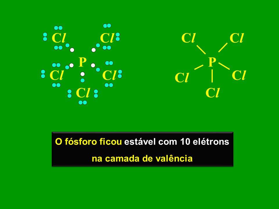 O fósforo ficou estável com 10 elétrons