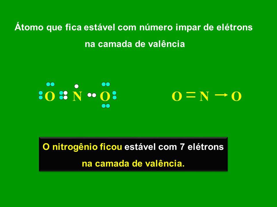 O N O O N O Átomo que fica estável com número impar de elétrons