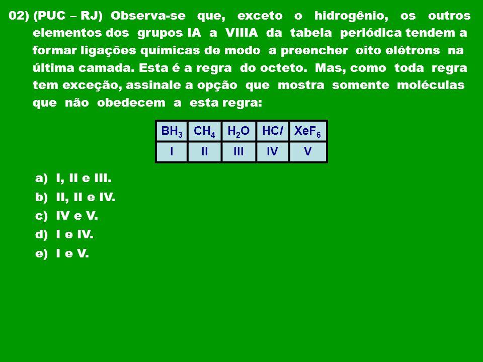 02) (PUC – RJ) Observa-se que, exceto o hidrogênio, os outros