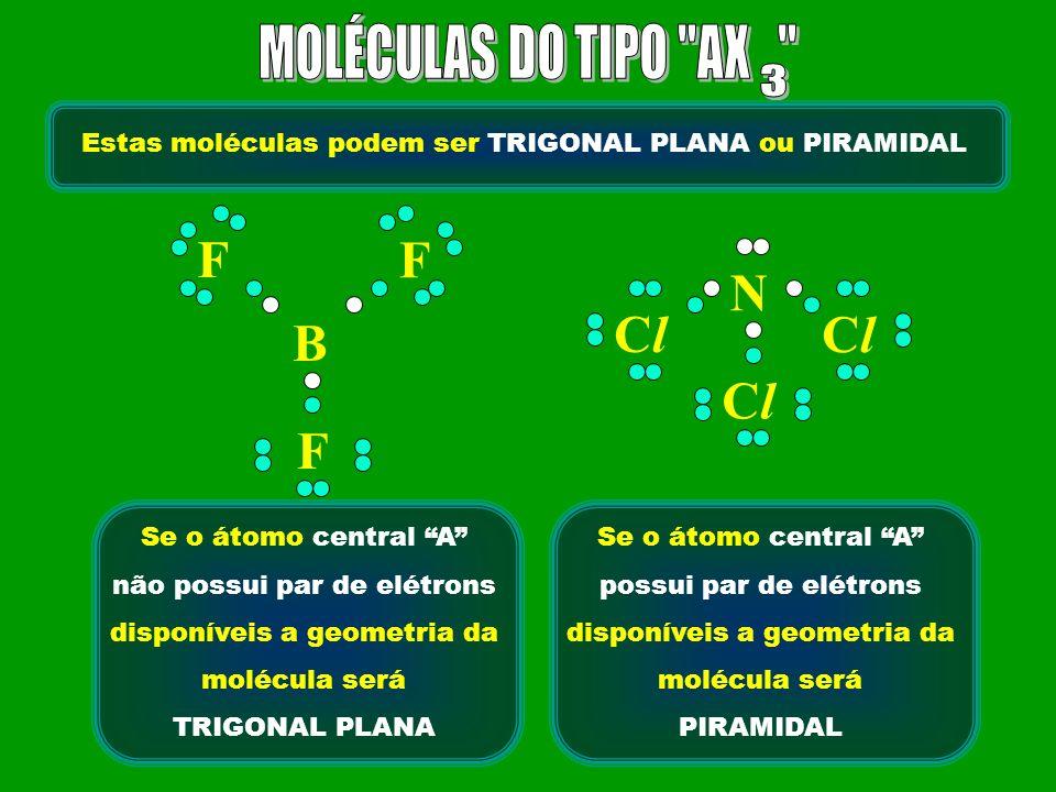 Estas moléculas podem ser TRIGONAL PLANA ou PIRAMIDAL