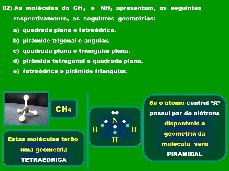 possui par de elétrons disponíveis a geometria da molécula será