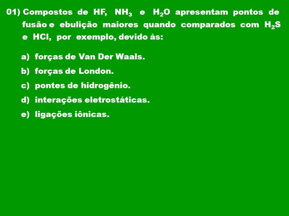 01) Compostos de HF, NH3 e H2O apresentam pontos de