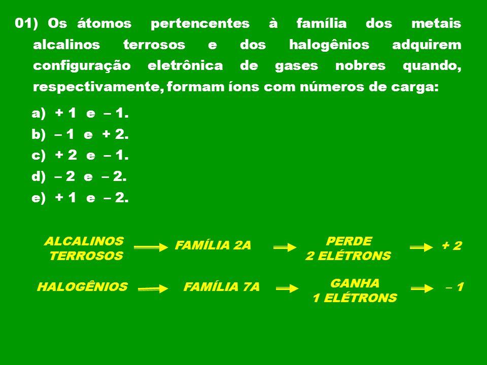01) Os átomos pertencentes à família dos metais alcalinos terrosos e dos halogênios adquirem configuração eletrônica de gases nobres quando, respectivamente, formam íons com números de carga: