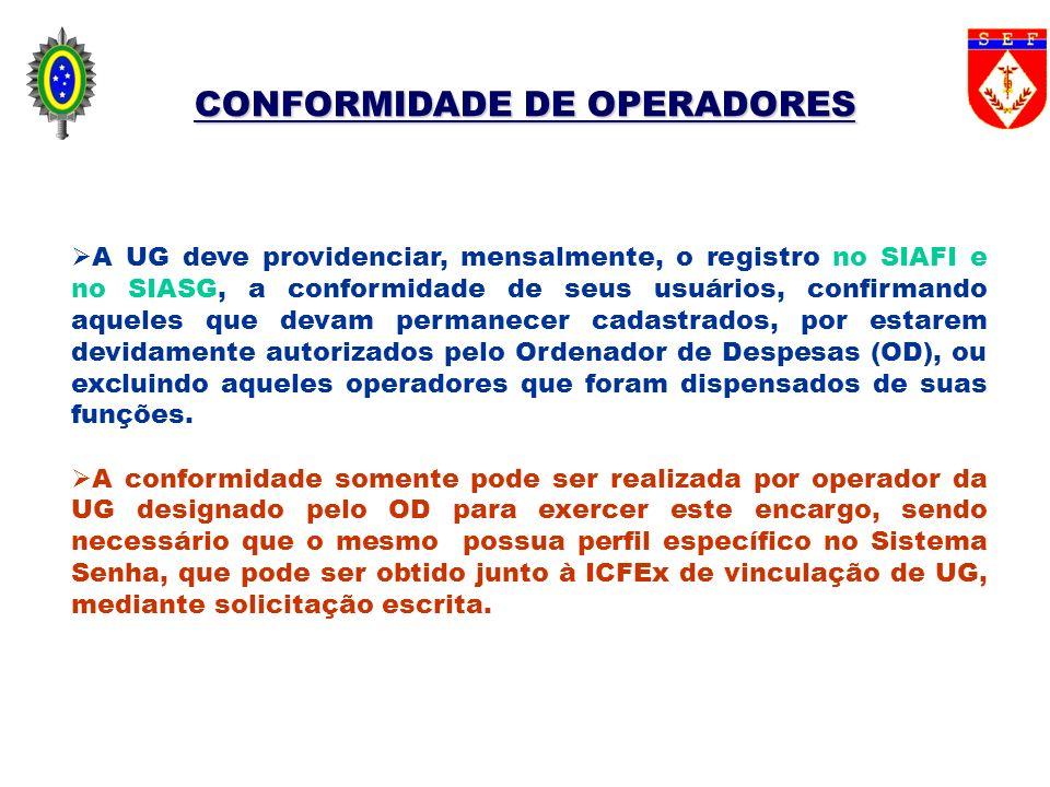 CONFORMIDADE DE OPERADORES