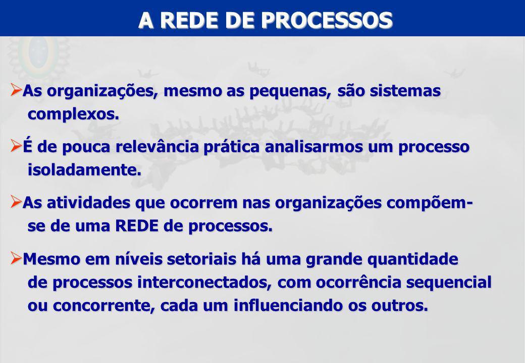 A REDE DE PROCESSOS As organizações, mesmo as pequenas, são sistemas complexos.