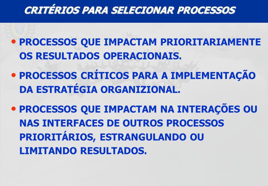 CRITÉRIOS PARA SELECIONAR PROCESSOS