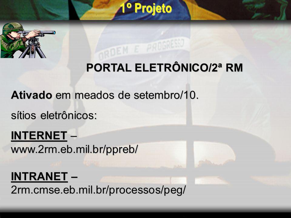 1º Projeto PORTAL ELETRÔNICO/2ª RM Ativado em meados de setembro/10.