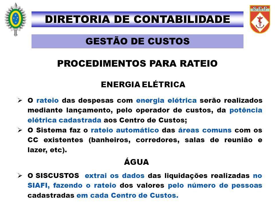 DIRETORIA DE CONTABILIDADE PROCEDIMENTOS PARA RATEIO