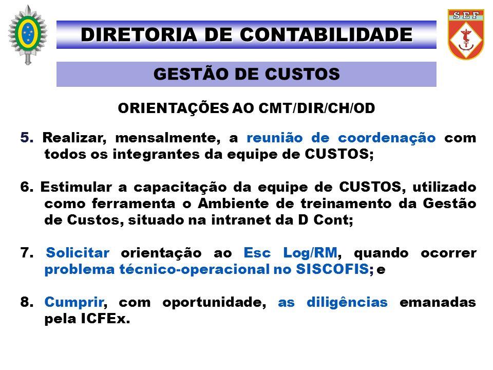 DIRETORIA DE CONTABILIDADE ORIENTAÇÕES AO CMT/DIR/CH/OD