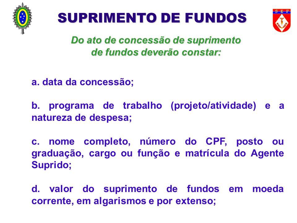 Do ato de concessão de suprimento de fundos deverão constar: