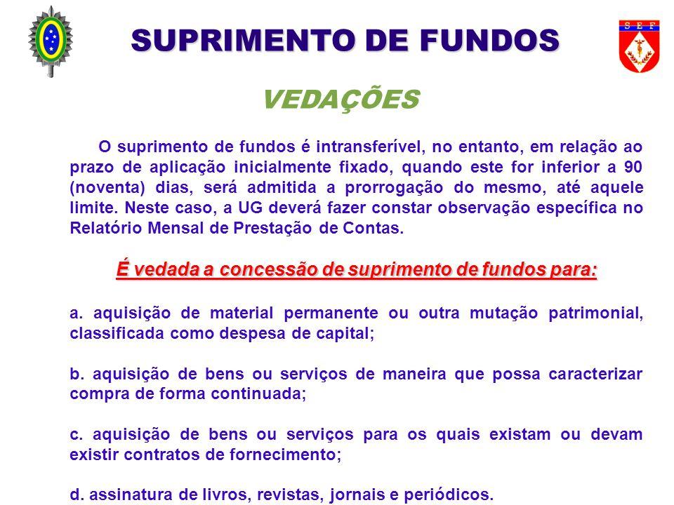 É vedada a concessão de suprimento de fundos para: