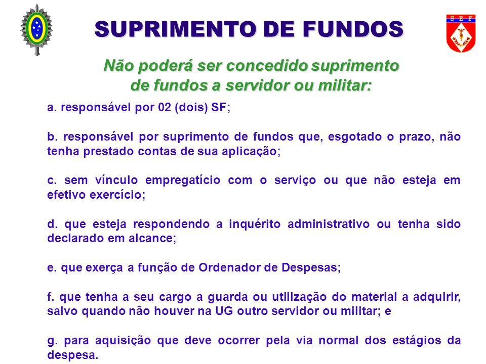 Não poderá ser concedido suprimento de fundos a servidor ou militar: