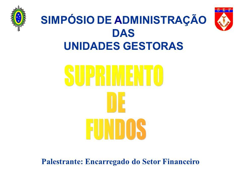 SIMPÓSIO DE ADMINISTRAÇÃO Palestrante: Encarregado do Setor Financeiro