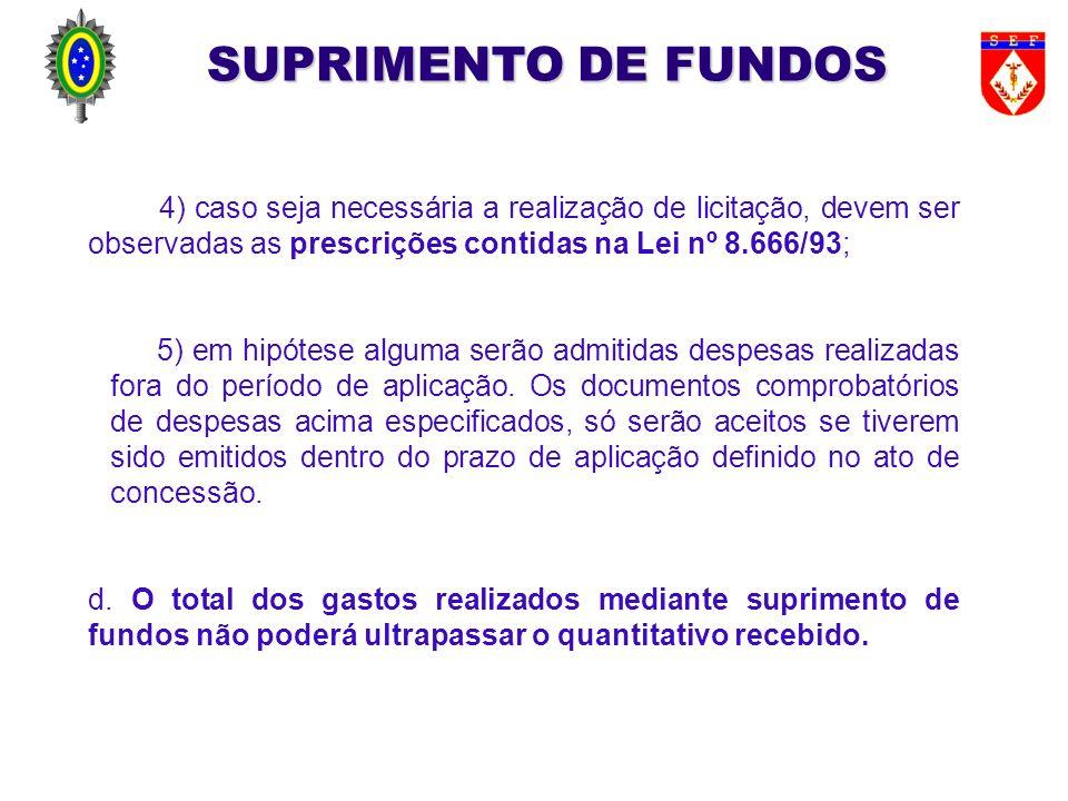 SUPRIMENTO DE FUNDOS 4) caso seja necessária a realização de licitação, devem ser observadas as prescrições contidas na Lei nº 8.666/93;