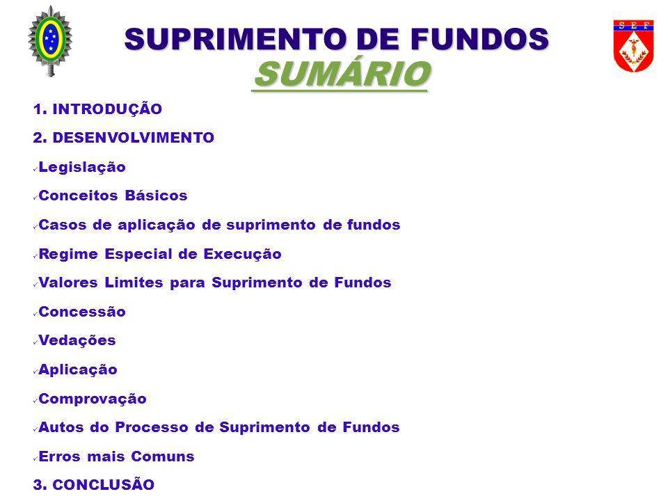SUPRIMENTO DE FUNDOS SUMÁRIO 1. INTRODUÇÃO 2. DESENVOLVIMENTO