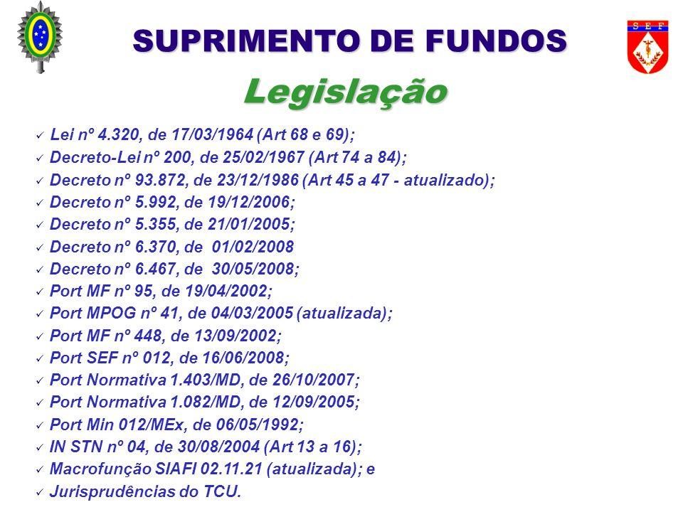Legislação SUPRIMENTO DE FUNDOS