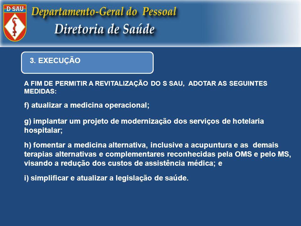 f) atualizar a medicina operacional;