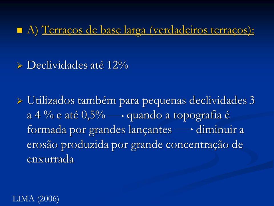 A) Terraços de base larga (verdadeiros terraços): Declividades até 12%