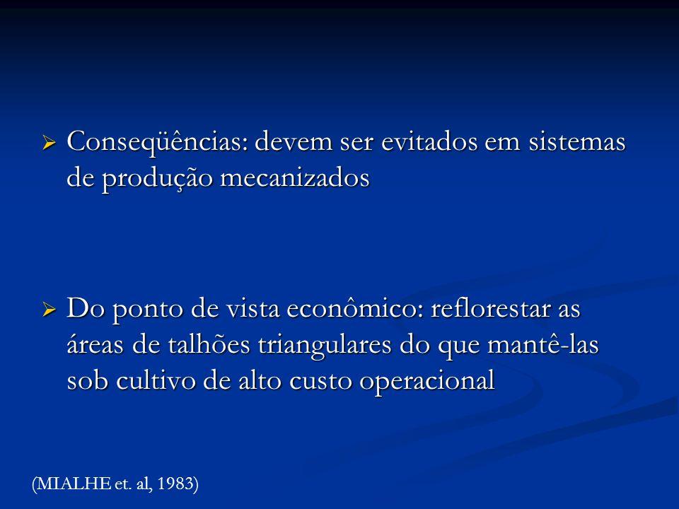 Conseqüências: devem ser evitados em sistemas de produção mecanizados