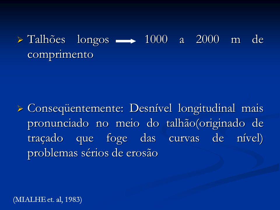Talhões longos 1000 a 2000 m de comprimento