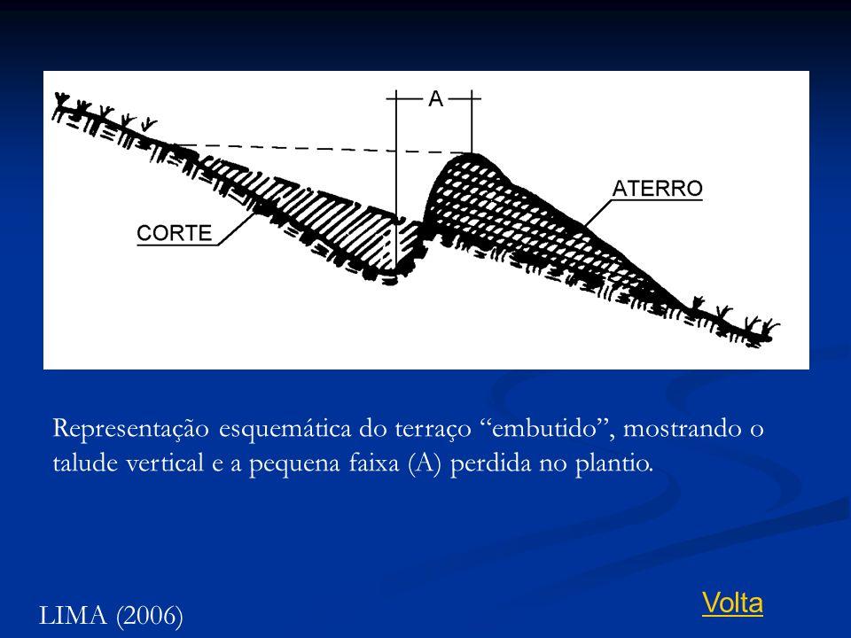Representação esquemática do terraço embutido , mostrando o talude vertical e a pequena faixa (A) perdida no plantio.