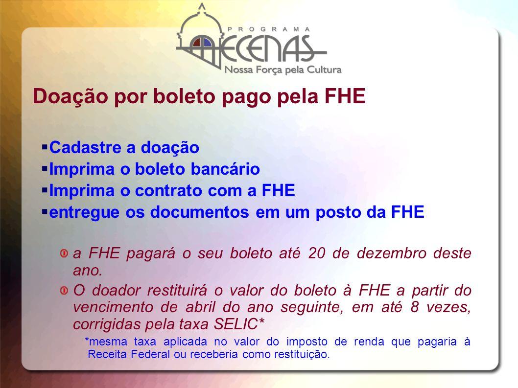 Doação por boleto pago pela FHE