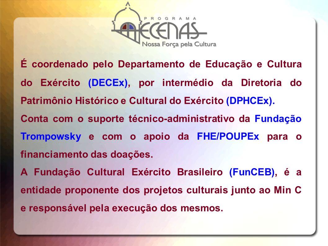 É coordenado pelo Departamento de Educação e Cultura do Exército (DECEx), por intermédio da Diretoria do Patrimônio Histórico e Cultural do Exército (DPHCEx).