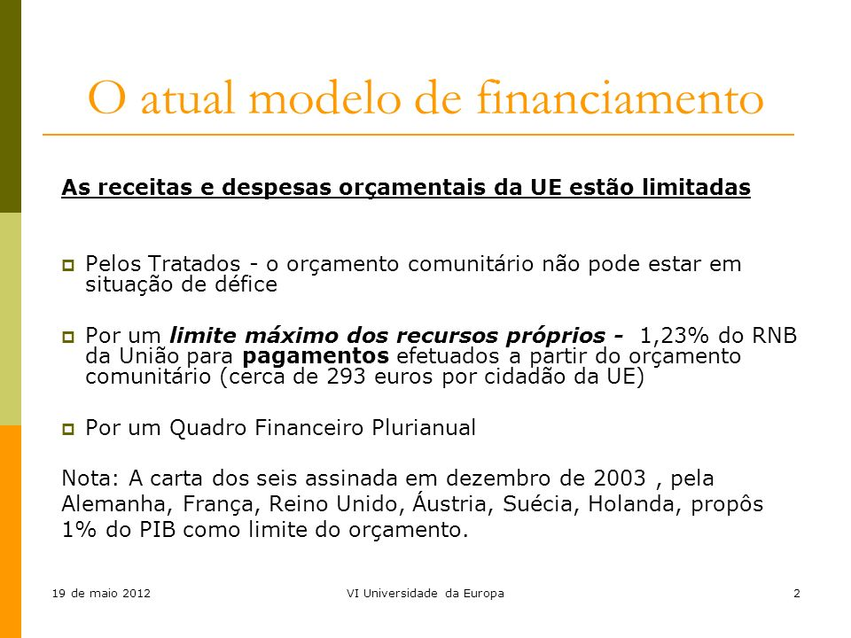 O atual modelo de financiamento
