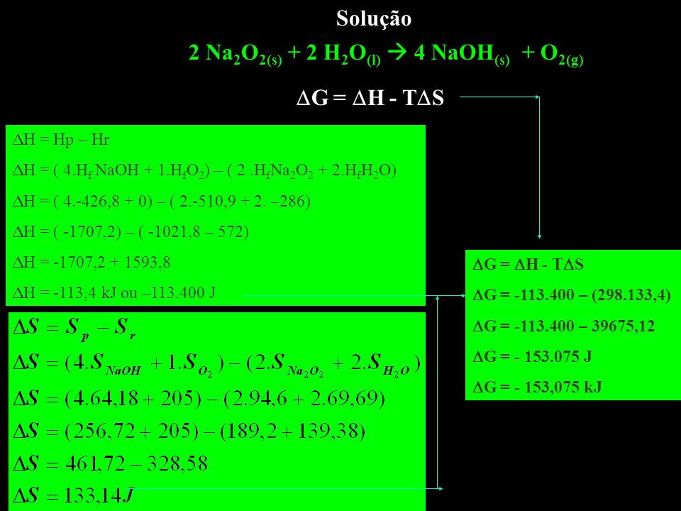 2 Na2O2(s) + 2 H2O(l)  4 NaOH(s) + O2(g)