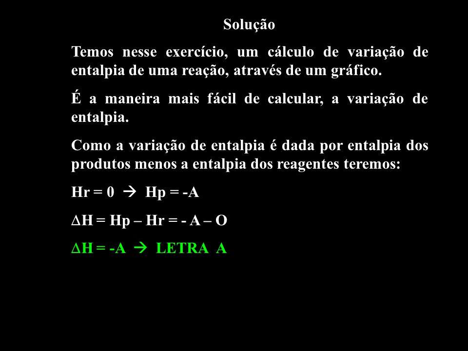 Solução Temos nesse exercício, um cálculo de variação de entalpia de uma reação, através de um gráfico.