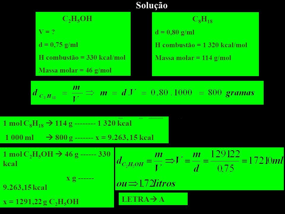 Solução C2H5OH 1 mol C8H18  114 g -------- 1 320 kcal