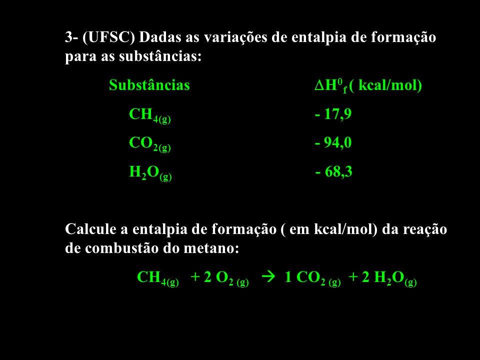 3- (UFSC) Dadas as variações de entalpia de formação para as substâncias: