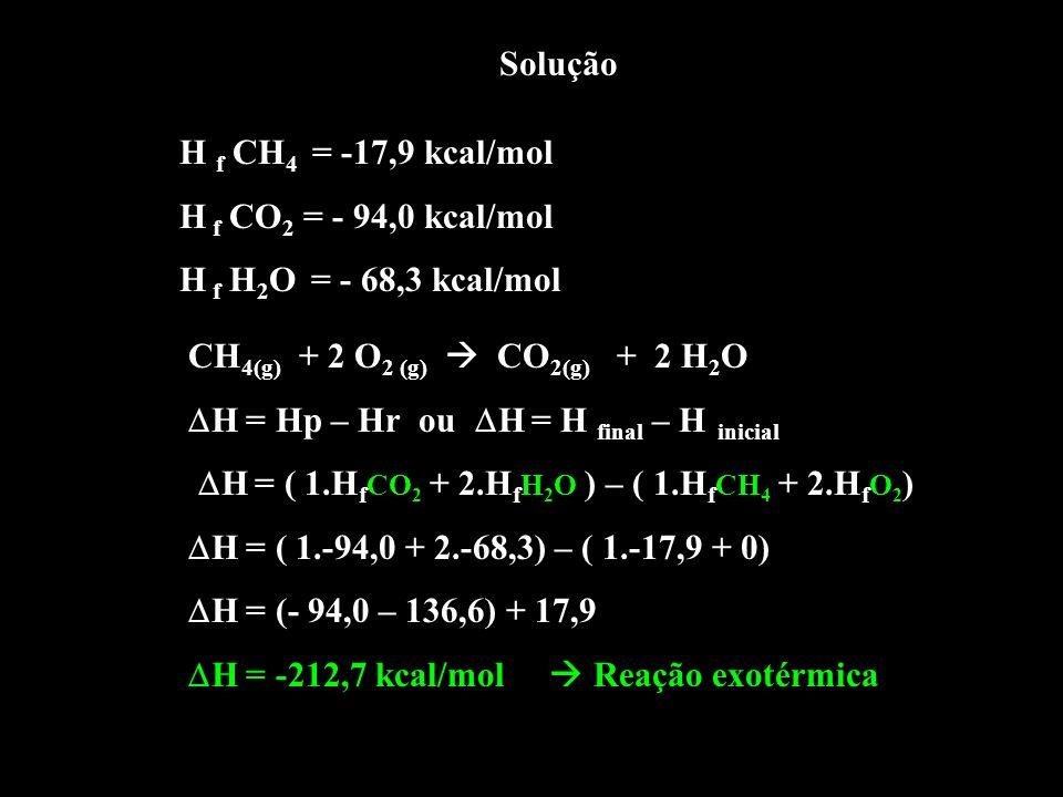 Solução H f CH4 = -17,9 kcal/mol. H f CO2 = - 94,0 kcal/mol. H f H2O = - 68,3 kcal/mol. CH4(g) + 2 O2 (g)  CO2(g) + 2 H2O.