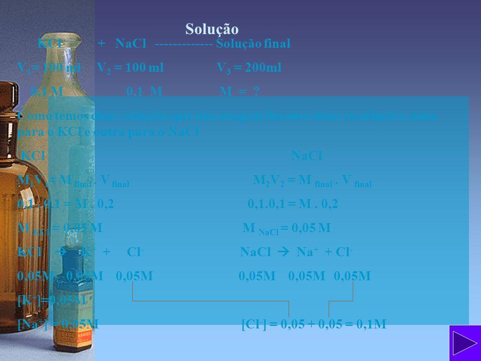 Solução KCl + NaCl ------------- Solução final