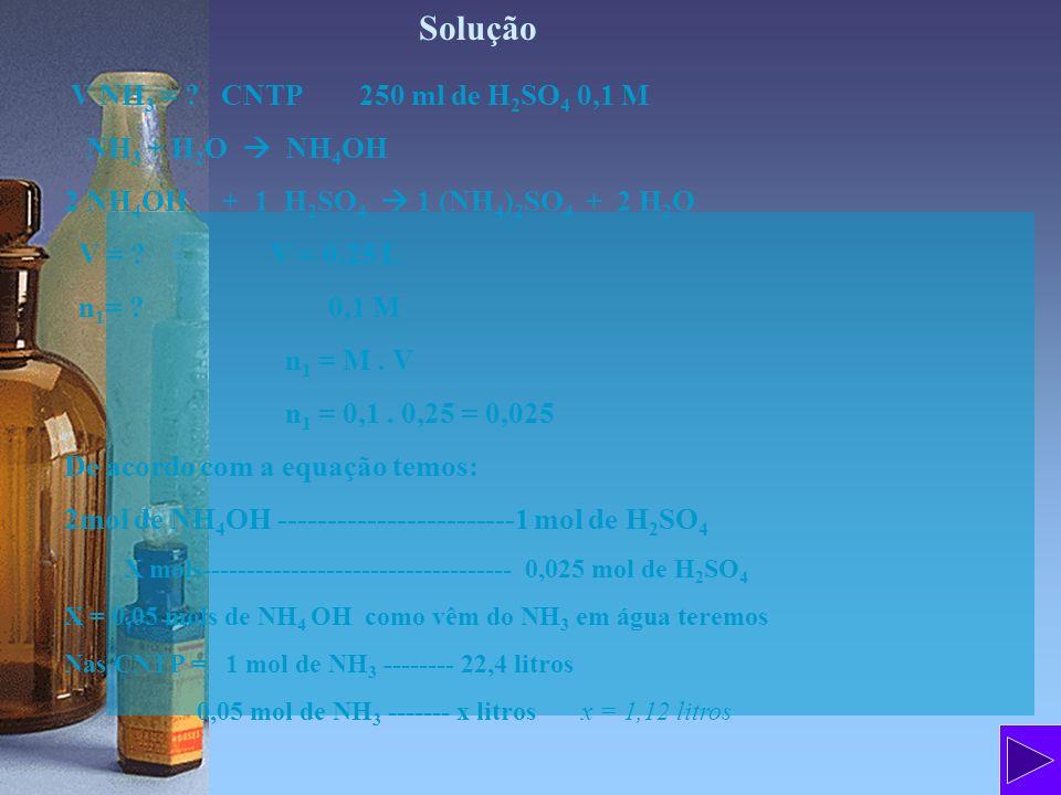 Solução V NH3 = CNTP 250 ml de H2SO4 0,1 M NH3 + H2O  NH4OH