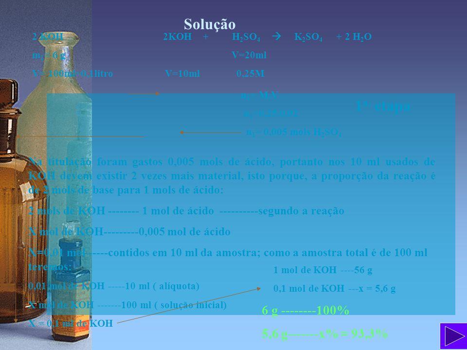Solução 1a. etapa 6 g --------100% 5,6 g-------x% = 93,3%