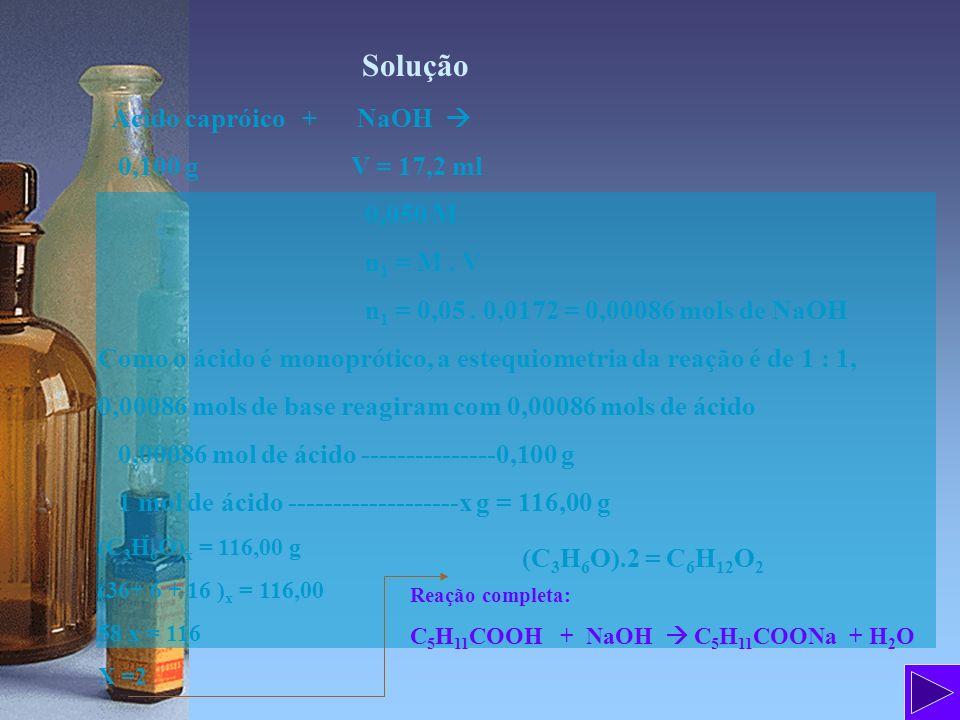 Solução Ácido capróico + NaOH  0,100 g V = 17,2 ml 0,050 M n1 = M . V