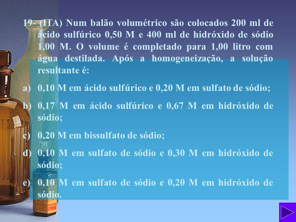 19- (ITA) Num balão volumétrico são colocados 200 ml de ácido sulfúrico 0,50 M e 400 ml de hidróxido de sódio 1,00 M. O volume é completado para 1,00 litro com água destilada. Após a homogeneização, a solução resultante é: