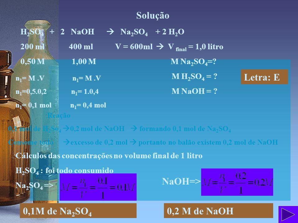 Solução Letra: E NaOH=> 0,1M de Na2SO4 0,2 M de NaOH