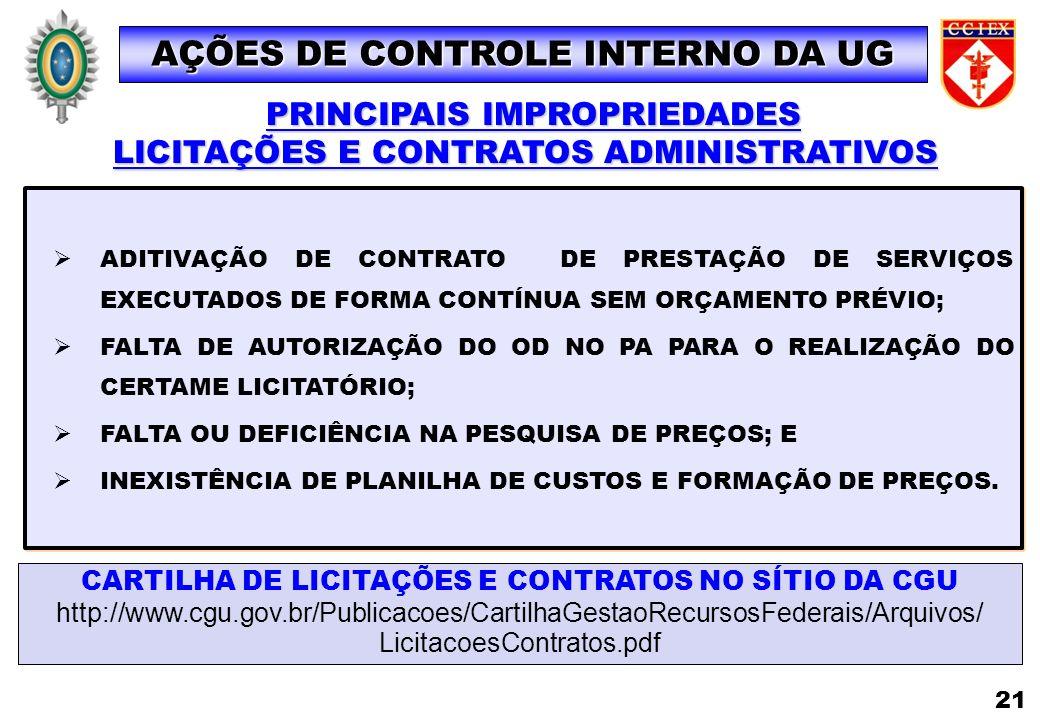 AÇÕES DE CONTROLE INTERNO DA UG LICITAÇÕES E CONTRATOS ADMINISTRATIVOS