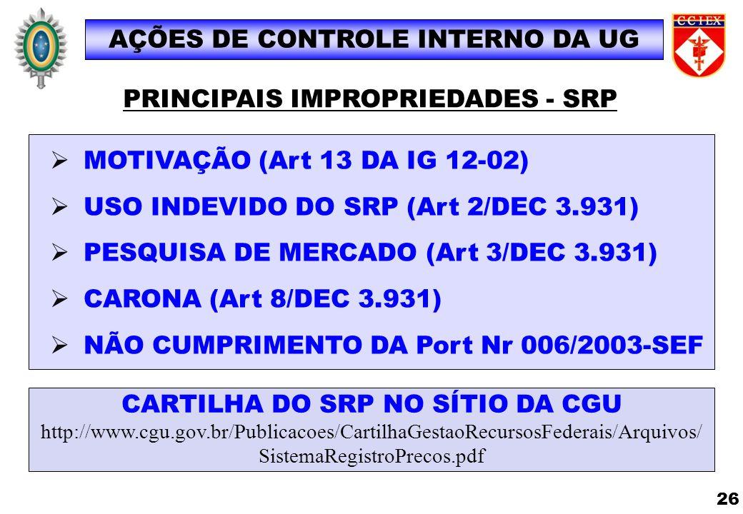 AÇÕES DE CONTROLE INTERNO DA UG PRINCIPAIS IMPROPRIEDADES - SRP