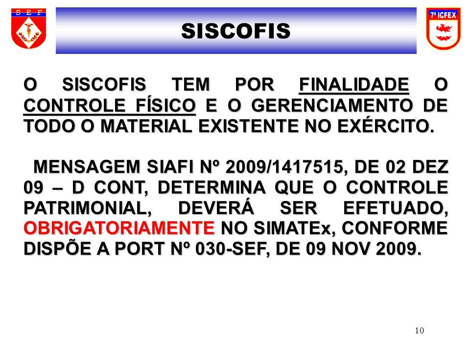 SISCOFISO SISCOFIS TEM POR FINALIDADE O CONTROLE FÍSICO E O GERENCIAMENTO DE TODO O MATERIAL EXISTENTE NO EXÉRCITO.