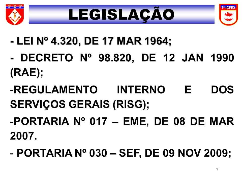 LEGISLAÇÃO - LEI Nº 4.320, DE 17 MAR 1964;
