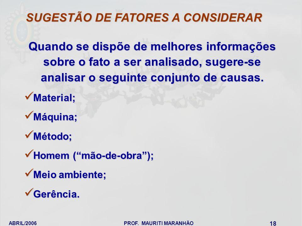 SUGESTÃO DE FATORES A CONSIDERAR