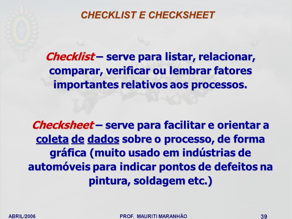 CHECKLIST E CHECKSHEET