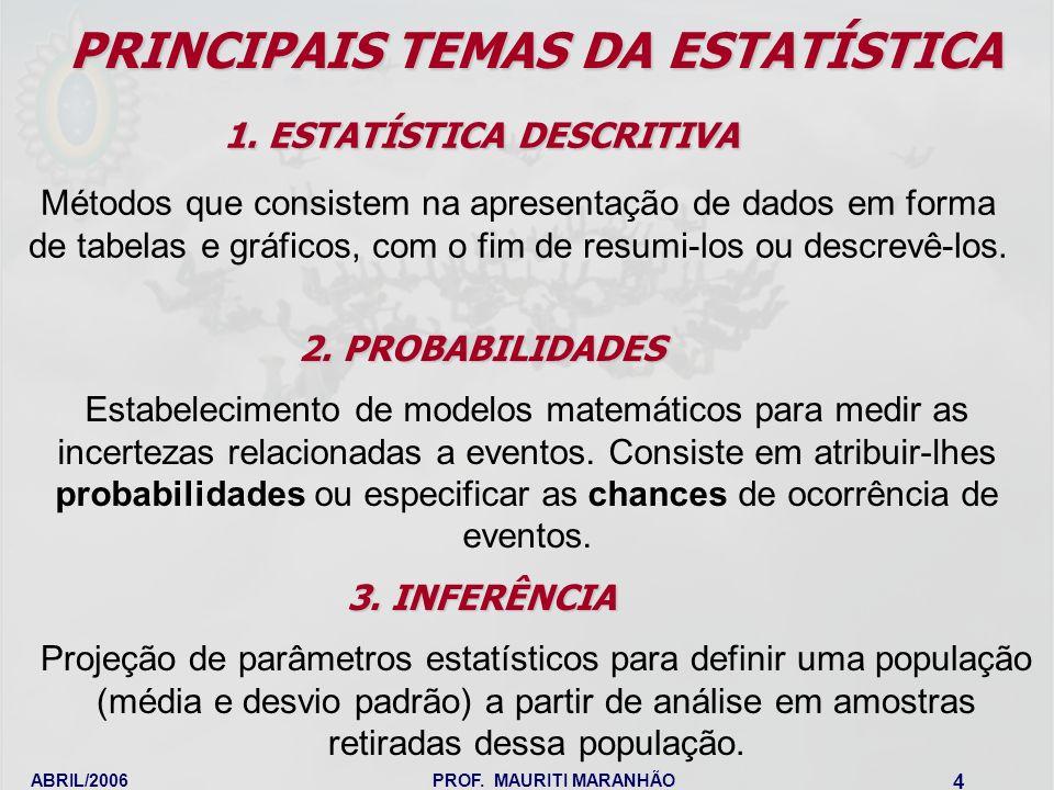 PRINCIPAIS TEMAS DA ESTATÍSTICA