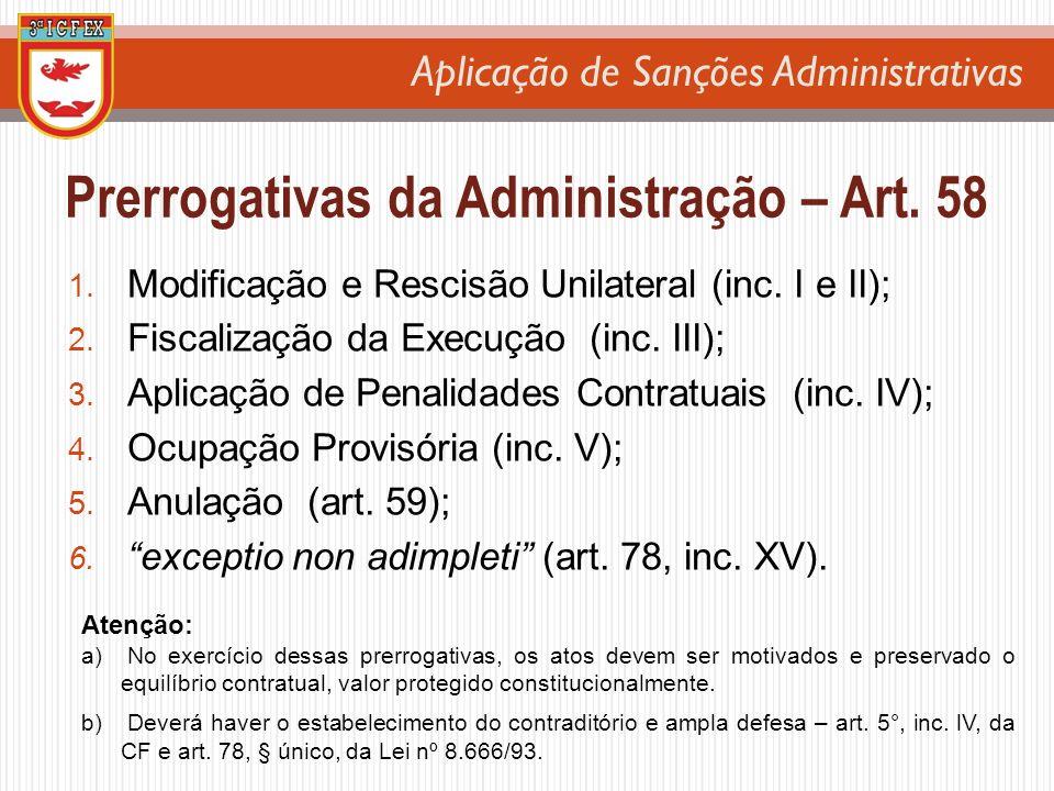 Prerrogativas da Administração – Art. 58