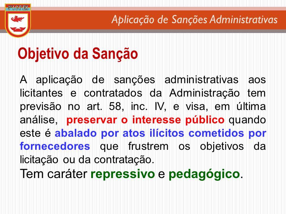 Objetivo da Sanção Tem caráter repressivo e pedagógico.